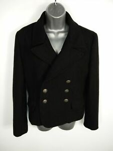 WOMENS-ATTACHMENT-BLACK-BUTTON-UP-DOUBLE-BREASTED-SMART-PEA-COAT-SIZE-M-MEDIUM