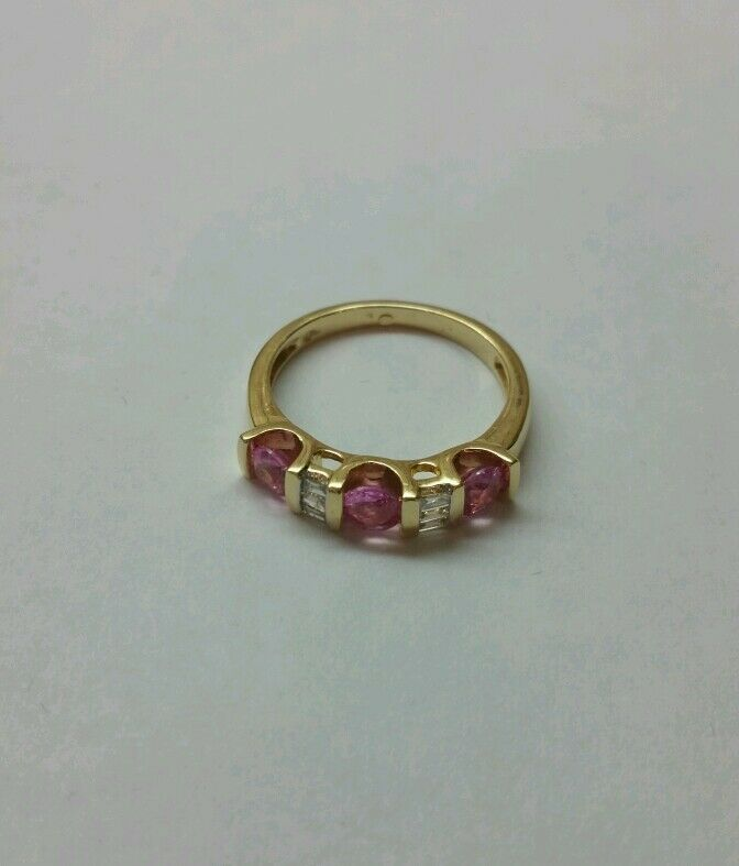 0.90 CT Gorgeous Natural Diamond & Pink Sapphire Ring in Solid  gold 14K