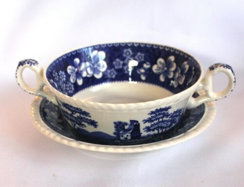 Suppentasse mit Untertasse Spode England Blue Tower