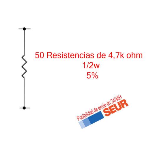 50X Resistencias Pelicula metalica 4700 4,7K Ohm 1/2W  5%