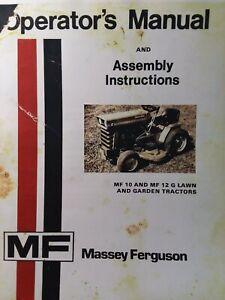 Massey Ferguson Mf 10 Mf 12 G Lawn Garden Tractor 610 Mower Owners 2 Manuals Ebay