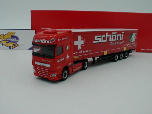 """CH Herpa 309301 /"""" 1:87 NEU DAF XF SSC Gardinenplanen-Sattelzug rot /"""" Schöni"""