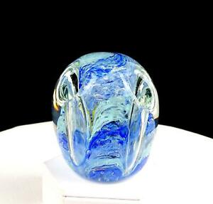 """GENTILE GLASS CO SIGNED BLUE SWIRL 3 1/2"""" PENCIL PEN HOLDER PAPERWEIGHT 1950-75"""