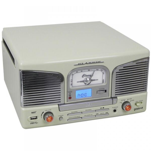 groov e gvtt03cm music centre vinyl record player turntable cd usb fm mp3 cream for sale online. Black Bedroom Furniture Sets. Home Design Ideas