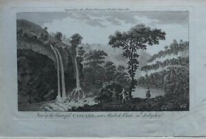 c1779-ANTIQUE-PRINT-VIEW-OF-BEAUTIFUL-CASCADE-MATLOCK-BATH-DERBYSHIRE
