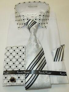 1302729b37f Image is loading Mens-White-Geometric-French-Cuff-Dress-Shirt-Gorgeous-