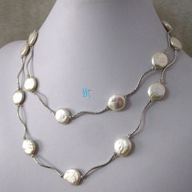 13-14MM Gray Coin Akoya Pearl Necklace 20''