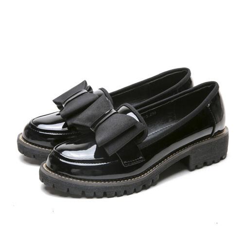 mocasines gran estrecha Deslizamiento con de Punta tacones tamaño de bajos mujer de charol cuero para Zapatos en qx8faw4U1
