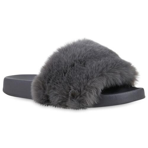 Damen Sandalen Pantoletten Kunstfell Hausschuhe Sommer Schlappen 826564 Trendy
