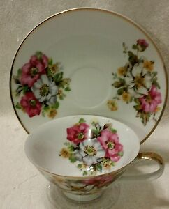 Tea-Cup-amp-Saucer-Floral-PINK-RED-WHITE-Made-in-Japan-Bird-Logo
