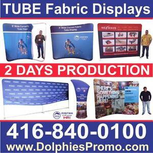 Portable Trade Show 8 TUBE Tension Fabric Display Stand + Dye-Sublimation Fabric Graphics by DolphiesPromo.com Toronto (GTA) Preview