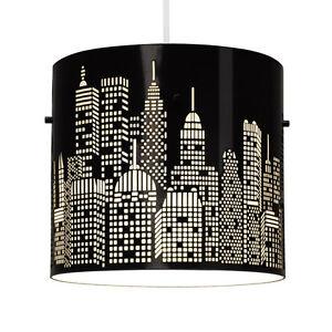 Modern-Gloss-Black-New-York-Skyline-Ceiling-Light-Fitting-Lamp-Shade-Lampshade
