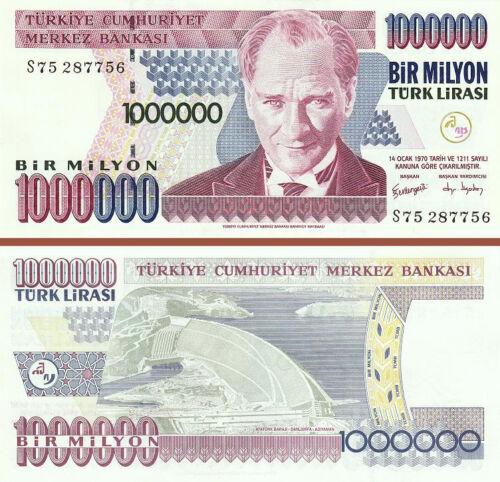 TURKEY 1000000 1,000,000 1 MILLION  LIRA 1996 *S* SERIAL UNC 5 PCS LOT P-213