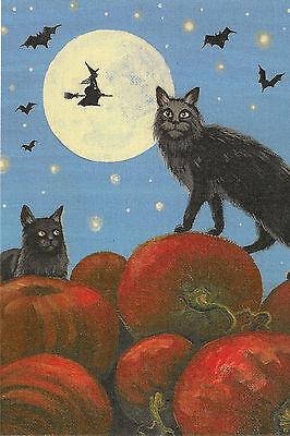 4x6 PRINT OF HALLOWEEN PAINTING RYTA FOLK ART BLACK CAT PUMPKIN PATCH SURREAL