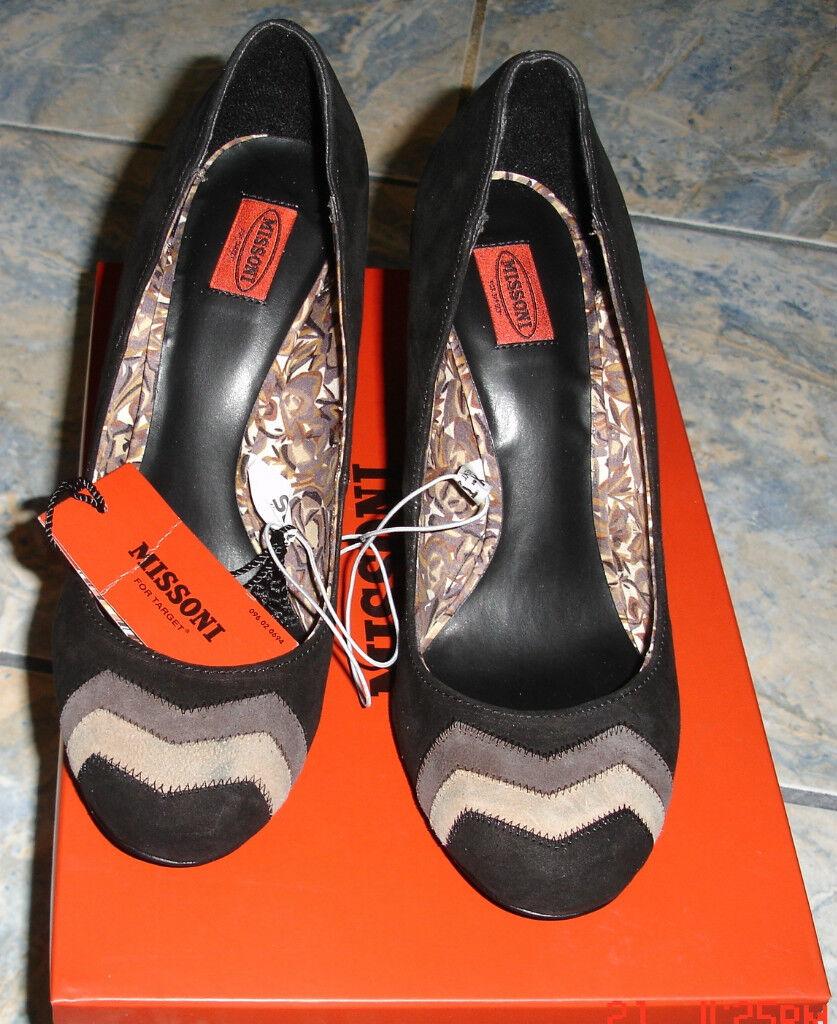 MISSONI FOR TARGET SUEDE BARK WOOD PUMP ZIG ZAG 9 PATTERN ON TOE Schuhe 9 ZAG 11681f