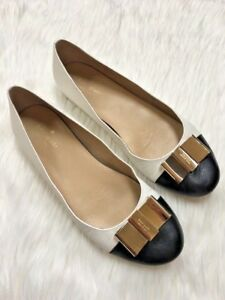 89f18b306d Kate Spade Trophy Tock Black White Leather Gold Bow Ballet Flats ...