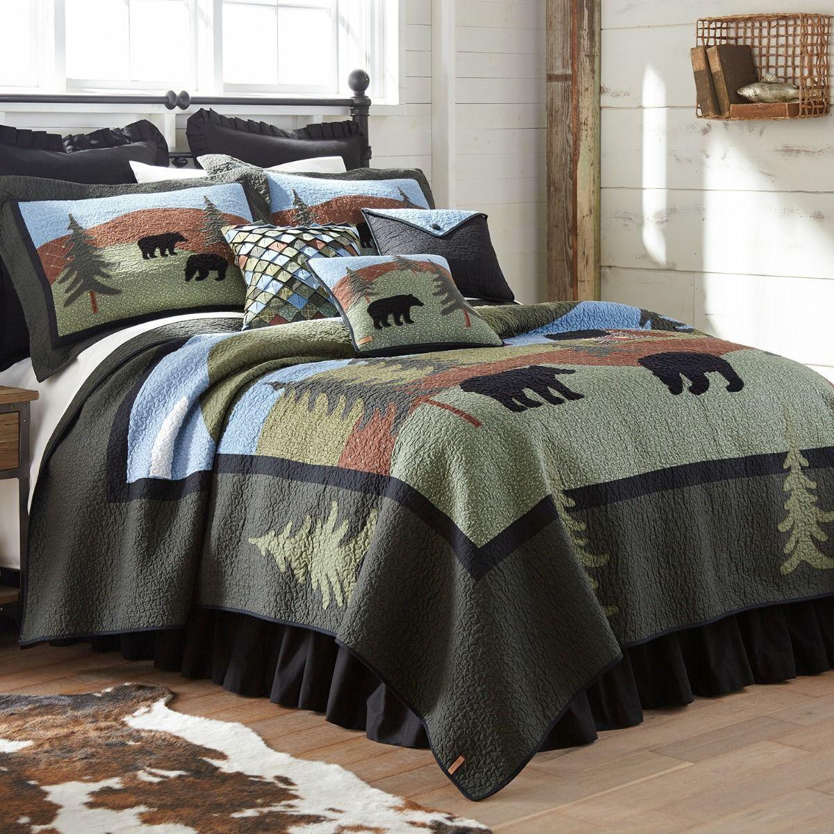 damen Sharp Bear Lake Quilted Country Cotton King 4-Piece Bedding Set