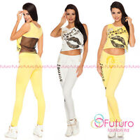 Crop Top + Skinny Pants Party Two Piece Set Trousers Clubwear Sizes 8-16 Fc1626