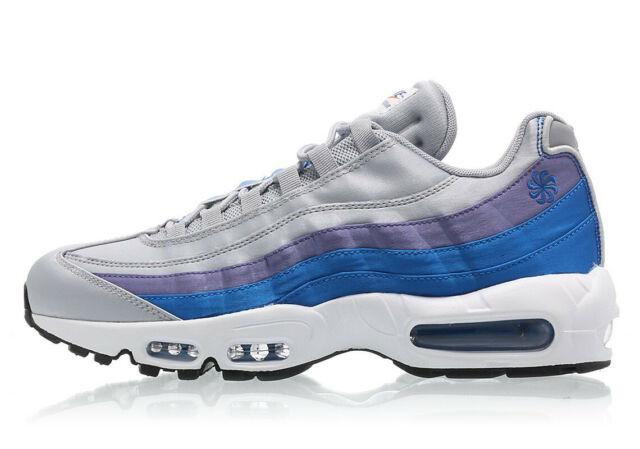 Mens Nike Air Max 95 Classic Sneakers New, Grey Nebula Blue AJ2018 001