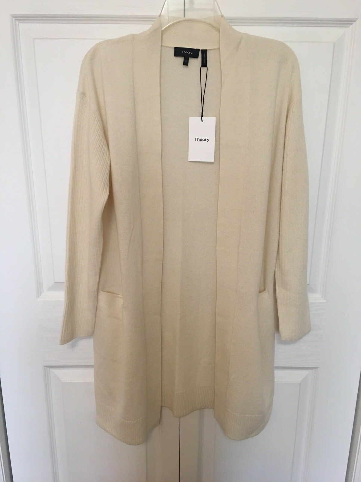 NWT Theory Rib Sleeve 100% Cashmere Cashmere Cashmere Cardigan Size S Small Warm Ivory fb9be4