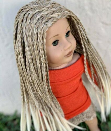 "10-11/"" Custom Doll WIG for 18/"" American Girl Doll  Blonde Braids AA!!"