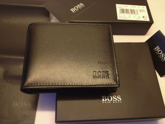 3656a17e491 BRAND NEW DESIGNER HUGO BOSS 'AREZZO' MENS TRIFOLD BLACK COIN POCKET WALLET  BOXD