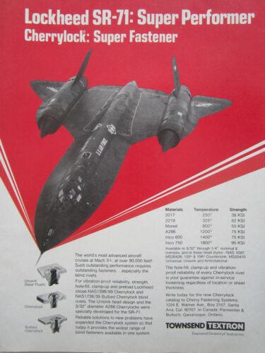 2//1976 PUB TOWNSEND TEXTRON LOCKHEED SR-71 BLACKBIRD CHERRYLOCK FASTENER AD
