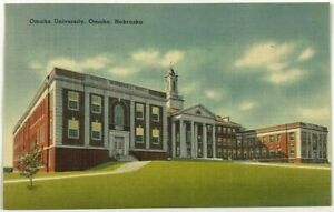 Postcard-Omaha-University-NE-Nebraska-Building-Street-View-1930-039-s-1940-039-s-Linen