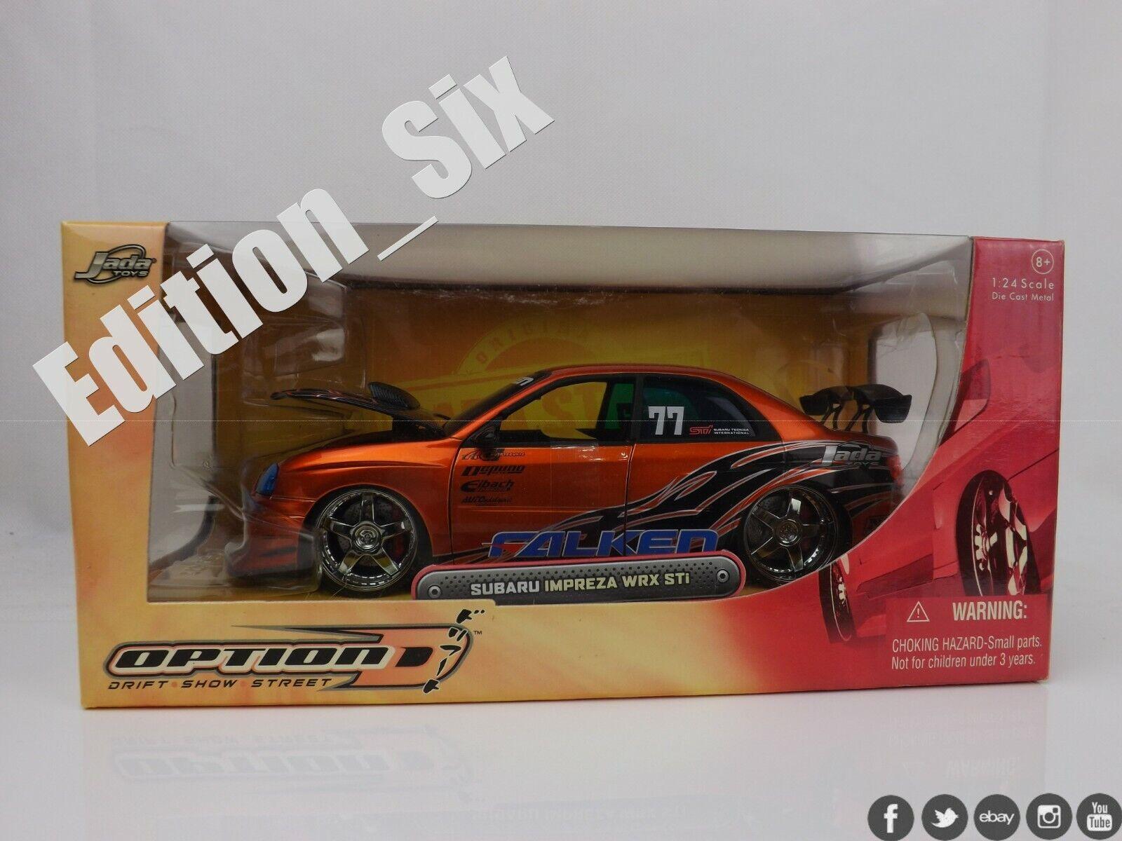 Jada Toys 1 24 Subaru Impreza WRX STI Falken pneus Orange JDM Voiture de sport NOUVEAU