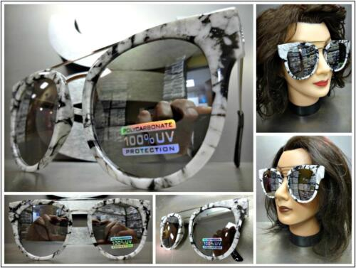 OVERSIZED RETRO Style Black White Marble /& Silver SUN GLASSES Chrome Mirror Lens