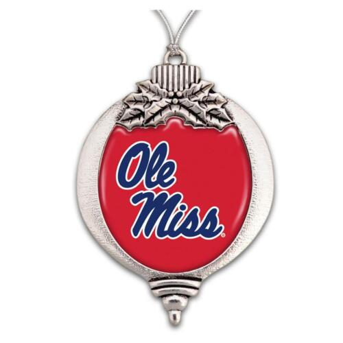 Ole Miss Rebels Red Blue Bulb Silver Metal Christmas Ornament Gift Decoration