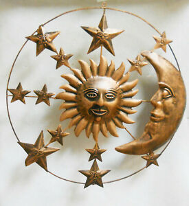 """Sun, Moon, Stars Mobile / Celestial Wall Decor Antique Copper Finish 21"""" dia"""