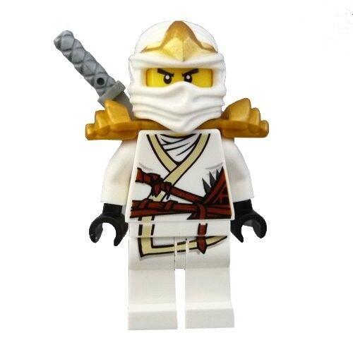LEGO NINJAGO MINIFIGURE ZANE ZX GOLD ARMOR SILVER SHAMSHIR SWORD WHITE NINJA