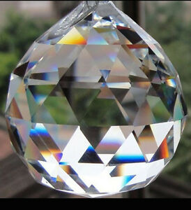 Crystal Prism 20MM Feng Shui Clear Faceted Hanging Glass Ball Sun Catcher *USA*