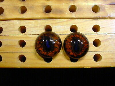 a pair vintage solid Glass Eyes size 10 mm yellow black taxidermy crafts