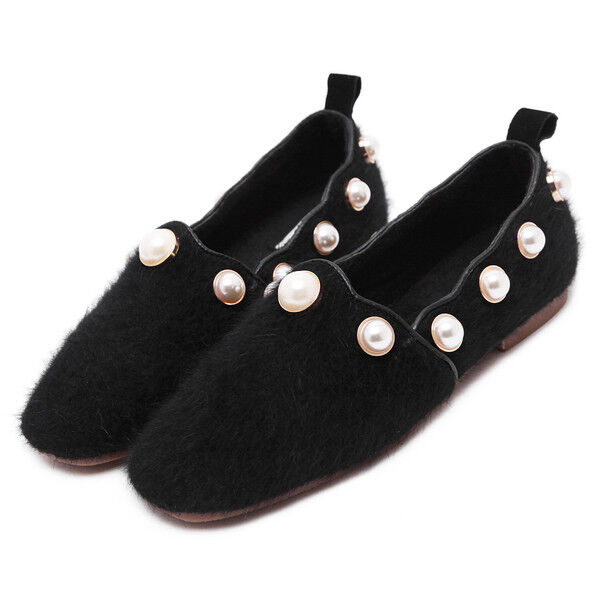 Ballerine mocassini eleganti negro morbidi pelliccia simil pelle  comode comode comode 1704  ventas de salida