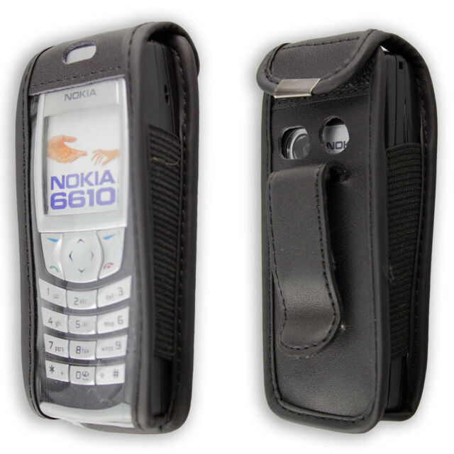 caseroxx Leather-Case with belt clip for Nokia 6220 in black made of real leathe