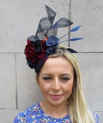 Navy Blue Burgundy Wine Maroon Red Flower Feather Hat Fascinator Races Hair 5875