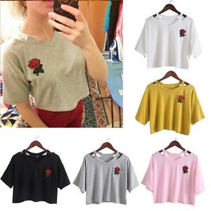 3b0e157d265f53 Women Summer Embroidery Rose Cut Out V Neck T Shirt Short Sleeve ...