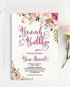 Details About Floral Brunch Bubbly Bridal Wedding Shower Invitation Rustic Chic Party Invite