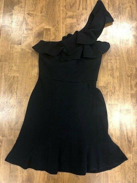 Rebecca Vallace St. Bkonsts One Shoulder Ruffle Mini Dress Blk, Kvinnor NWT storlek 4