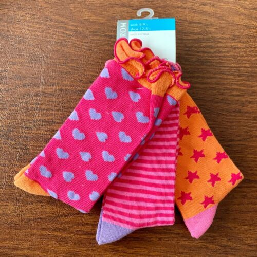 Girls Youth MEDIUM Socks NWT Nordstrom 3 PACK Cute Ruffles Bright ShoeSZ 12-5.5