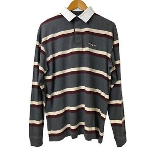 Men-039-s-Colorado-Long-Sleeve-Multicolour-Striped-Polo-Shirt-Collared-Neck-Size-L