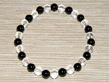 Black Tourmaline & Clear Quartz Gemstone Bracelet 6mm A Grade Beads (HM31C)