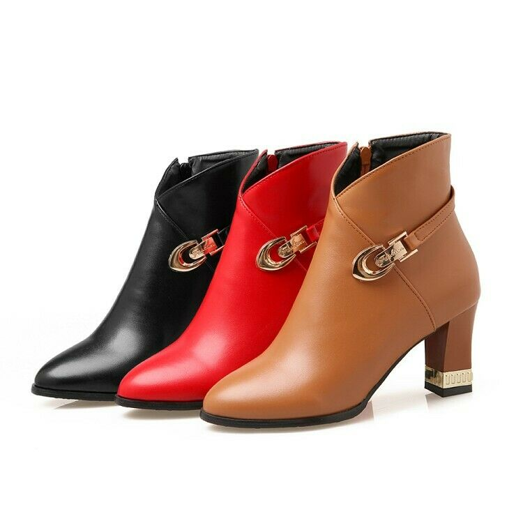 Ladies Party shoes Synthetic Leather High Heels Zip Up Ankle Boots US Size b226