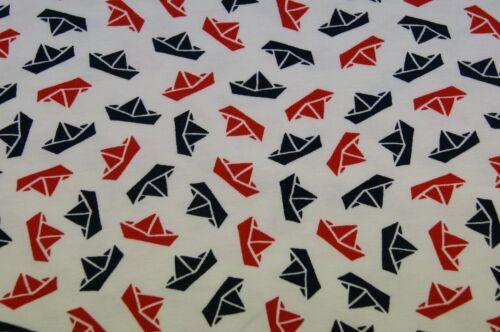 Jersey sustancia 150cmx50cm barcos blanco azul rojo