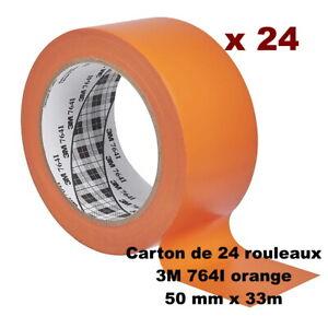 Lot de 24 rouleaux 3M Ruban adhésif vinyle 764I, Orange, 50 mm x 33 mètres