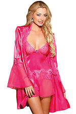 Hot Pink Satin Lace Robe Babydoll Set Valentine's Lingerie 21928