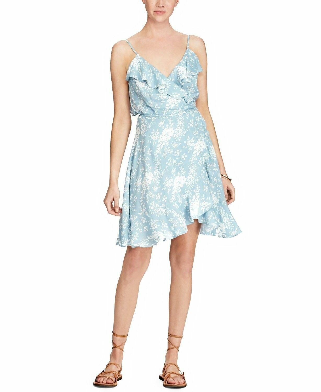 Denim & Supply Ralph Lauren Women New New New Flounce Floral Wrap Dress bluee Size M 3a7326