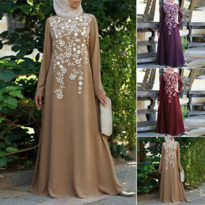 Women-Arab-Print-Abaya-Dubai-Maxi-Dress-Long-Sleeve-Islamic-Muslim-Jilbab-Robe